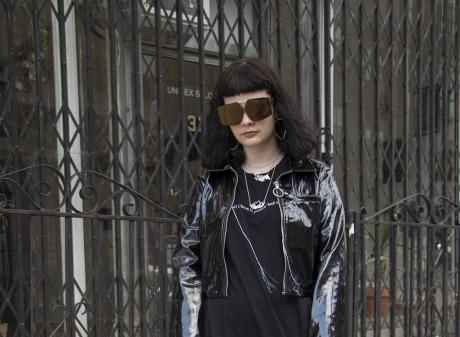 Julia wears Jimmy D Dress, Unif jacket, Karen Walker Eyewear, Underground Sundae jewellery, Dolls...