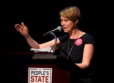 """Actress Cynthia Nixon speaks during the """"People's State of the Union"""" event in Manhattan. Photo: Reuters"""