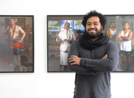 Pati Solomona Tyrell presents his Fringe exhibition Fagogo at the Blue Oyster art space earlier...