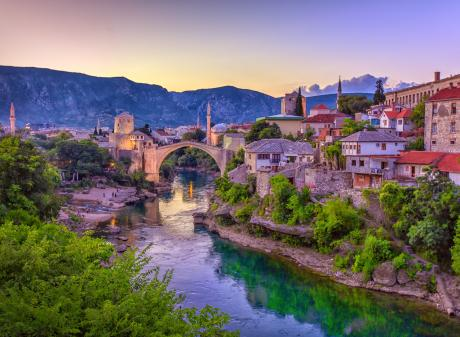 The Unesco-listed Mostar Bridge in Sarajevo crosses the Neretva River. Photo: Getty Images