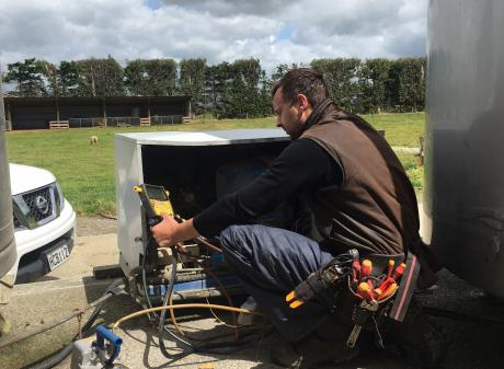 Keep it cool . . . Progressive qualified refrigeration engineer Ben Henderson audits a...