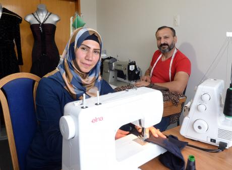 Syrian tailors and siblings Ola and Mohamad Jubna in their Brockville workroom. Photo: Linda...