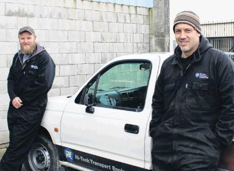 New to the floor . . . Hi-Tech Transport Engineering team members Callum Affleck (left) and Matt...