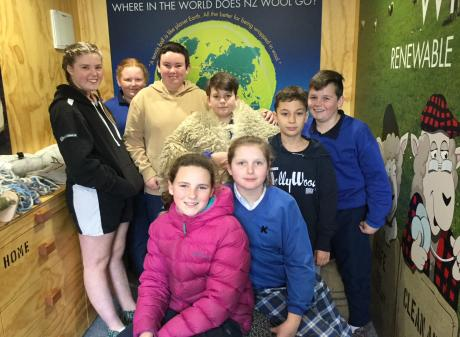 Pupils from Stirling and Kaitangata primary schools taking in The Woolshed are (back from left)...