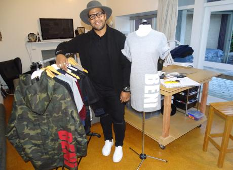 Queenstown fashion designer Peni Moala in his home studio with some of his BENi summer collection...