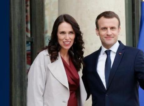 NZ Prime Minister Jacinda Ardern and French President Emmanuel Macron. Photo: AP