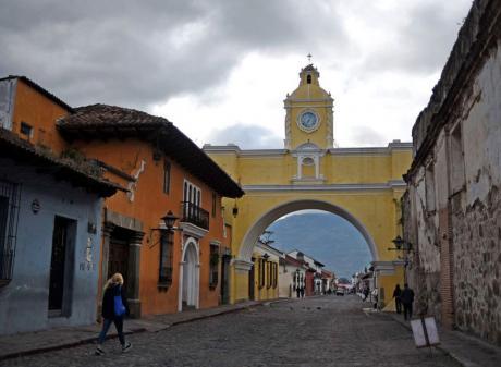 People walk in the streets of Antigua, Guatemala's old capital. Photo: JOHAN ORDONEZ/AFP