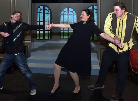 Actors (from left) Cheyne Jenkinson, Rosie Dunn and Reuben Hilder rehearse a scene in Ophelia...