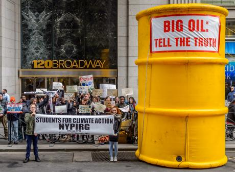 Activists turn out in New York in support of an investigation into ExxonMobil. Photo: Getty Images