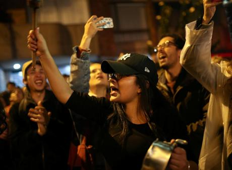 Demonstrators chant during a protest in Bogota. Photo: Reuters