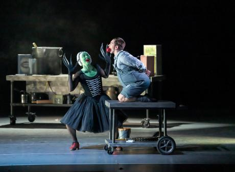 RNZB principal Paul Mathews as the witch gets ready to roast soloist Shaun James Kelly as Hansel...