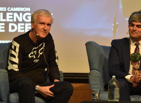 Director and explorer James Cameron (left) leads a talk at the Hutton Theatre yesterday with...