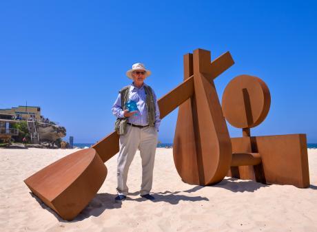 Arrow Junction sculptor Morgan Jones and his award-winning work The Sun Also Rises on Sydney's...