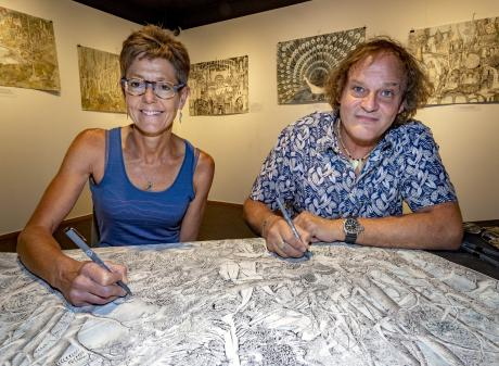 Kate and Luigi Agnelli work together at Lakes District Museum Gallery Arrowtown. Photos: Supplied