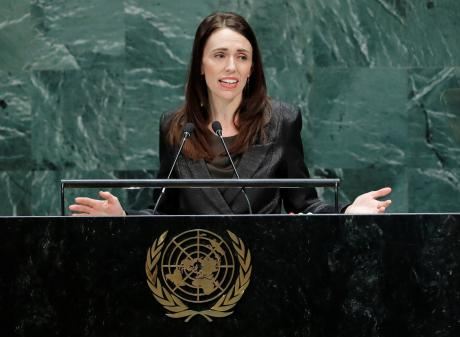 Prime Minister Jacinda Adern addresses the United Nations. Photo: Reuters