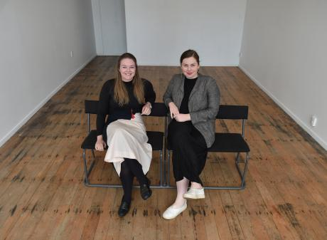 Grace Ryder (right) hands over the reins of the Blue Oyster Art Project Space to Hope Wilson...