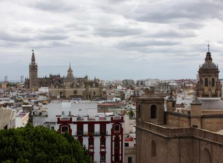 The Seville cityscape from the Metropol Parasol looking towards the magnificent Cathedral Giralda...