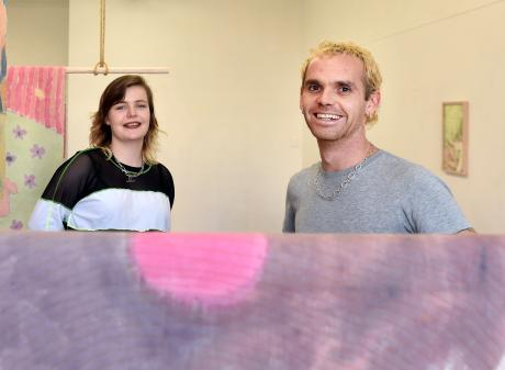 Artists Laura Duffy and Owen Connors with works from ''DUIRVIAS''. PHOTOS: PETER MCINTOSH
