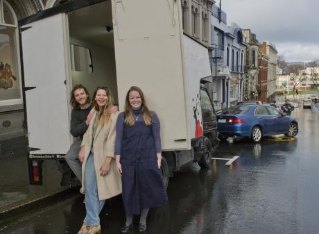 Arthur Buerms and Eugenie Coche, of the Nomadic Art Gallery, in Dowling St, Dunedin, with the...