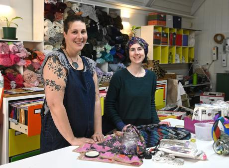 Fiona Clements (left) and Fiona Jenkin in the new Stitch Kitchen remakery workspace. PHOTOS:...