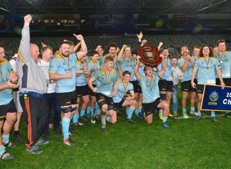 University celebrate their dramatic victory over Taieri at Forsyth Barr Stadium tonight. Photo:...