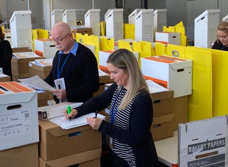 Electoral Commission staff (from left) Taieri Electorate returning officer Mary-Jane Moffat,...