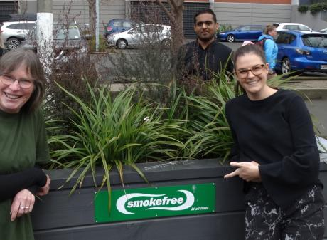 Smokefree Otago members (back, from left) Sophie Carty (Cancer Society), Anoop Gopalakrishnan ...