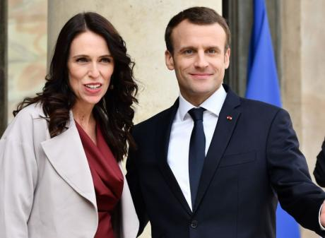 Jacinda Ardern and Emmanuel Macron in Paris. Photo: Getty Images