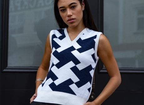Model Caitlyn Olive wears The Vest Practice's Miss Penn vest that will be produced here by Otago...