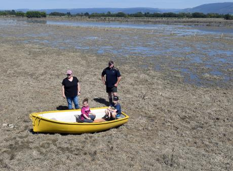 Dairy farm manager Dale Harris (right) and family members (from left) Jaclyn, Lexi (6) and Lane ...