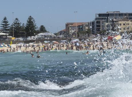A big crowd turned up to Sydney's popular Bondi Beach on Saturday to keep cool. Photo: Getty Images