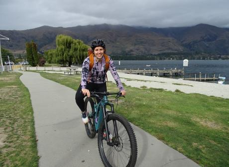 Anna Ross enjoys delivering orders of nail polish and lipstick on her bike in Wanaka. Photo:...