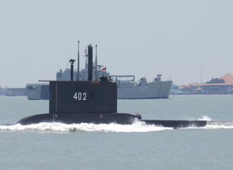 KRI Nanggala-402 sails in Surabaya, East Java province in September 2014. File photo: M Risyal...