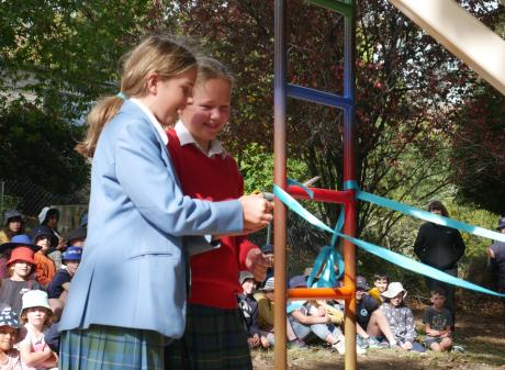 Former Balaclava School pupils Bonnie Wilson (left) and Gretel Calvert (both 11) cut a ribbon on...