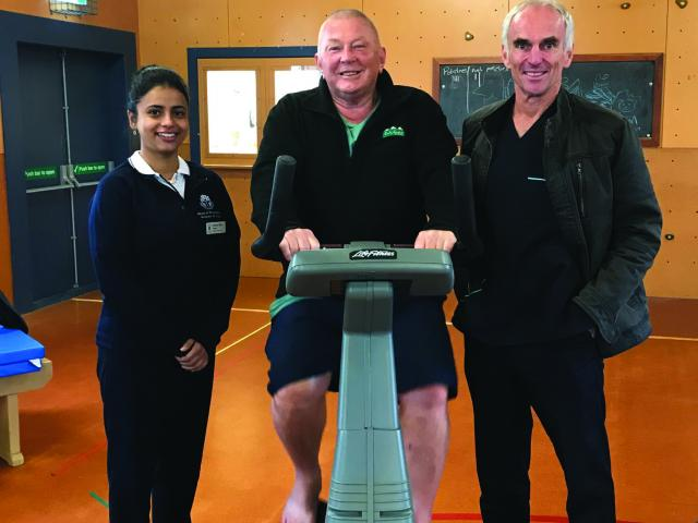 Physiotherapy student Aman Riar, patient Gerald Crawford and Senior Physiotherapist Martin Kidd