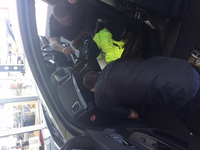 Police had to take apart the dashboard after the kitten was heard. Photos: Auckland City District...
