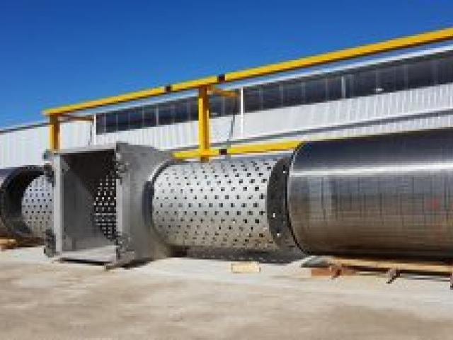 Components of the giant fish screen under construction in Australia. Photo: Supplied