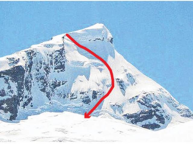 The path of the skier's fall down the west face of Mt Aspiring.  IMAGE: SUPPLIED