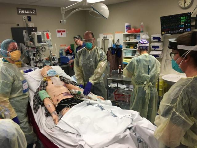 A COVID-19 simulation in action at the Dunedin Public Hospital