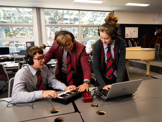 Scots College Year 11 students working in their music class.