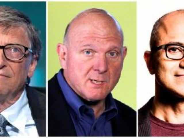 A combination photo shows Microsoft CEOs in its 39-year history - the founder of Microsoft Bill Gates (left), Steve Ballmer and Satya Nadella (right).   REUTERS/Files (L and C)/Microsoft (R)/Handout via Reuters