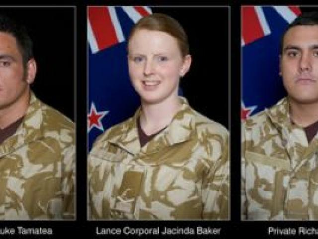 Corporal (CPL) Luke Tamatea, Lance Corporal (LCPL) Jacinda Baker, and Private (PTE) Richard Harris. Photo / Supplied