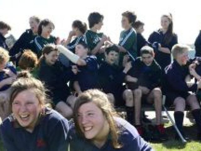 Posing for a photo before pandemonium broke out are Tahuna Normal Intermediate School twins with their class mates. Photo by Peter McIntosh.