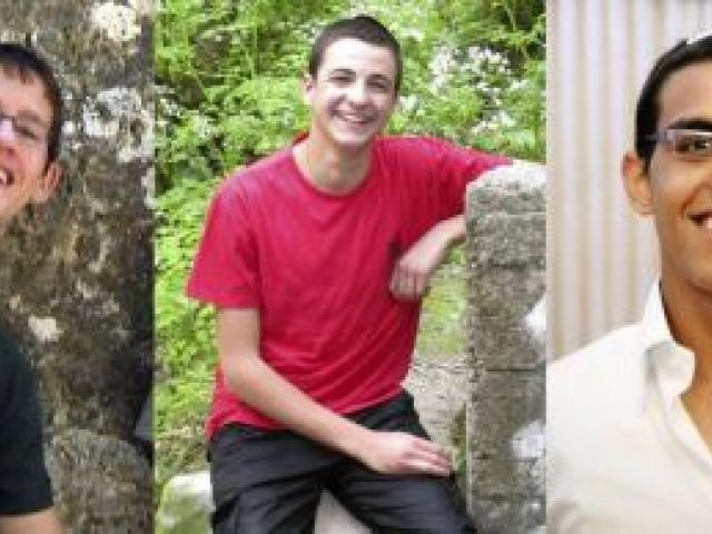 The three Israeli seminary students (l-r) Naftali Fraenkel, Gil-Ad Shaer and Eyal Yifrah. REUTERS