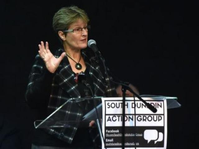 Dunedin City Council chief executive Sue Bidrose speaks at a heated meeting on the future of South Dunedin yesterday evening. Photo by Peter McIntosh.