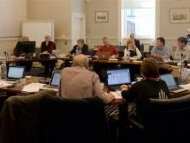 Dunedin City councillors weigh up their options at yesterday's annual plan deliberations. Photo by Linda Robertson.