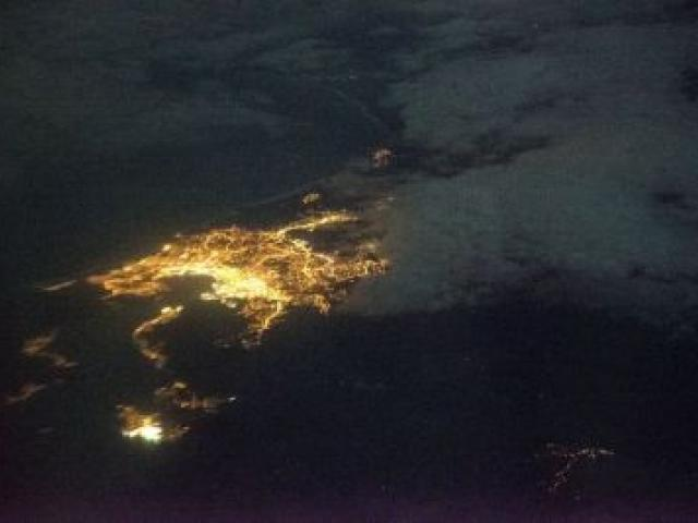 This image of Dunedin's lights, mainly street lights, was taken from the east early yesterday from a Nasa flying observatory at a height of 13.4km. The cluster of bright lights in the foreground is Port Chalmers. Photo: Ian Griffin