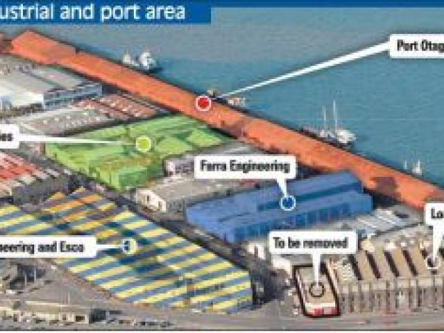 Dunedin's waterfront industrial and port area, showing the locations of proposed apartments in the Loan and Mercantile Building and surrounding companies that oppose the plans.