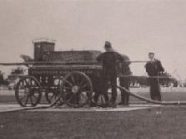 """The 1862 arrival in Dunedin of the horse-drawn Shand Mason manual engine gave the town's fire-fighting force a major boost. It required 28 men to operate the """"pumping poles"""" on either side to project two streams of water 12m into the air. Photo"""