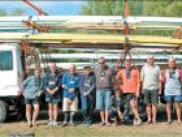 Champion crews: Veteran rowers (from left) Neil Garden, Alex Smolenski, Pat and Carolyn Cooney, Richard Spence, Maude O'Connell, Murray Booth, Dick McArthur and Bert Kemp. Picture: Supplied